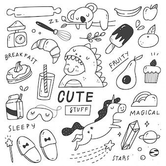 Zestaw ślicznych rzeczy doodles