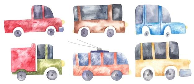 Zestaw ślicznych samochodów dla dzieci, autobusów, ciężarówek, ilustracji akwareli