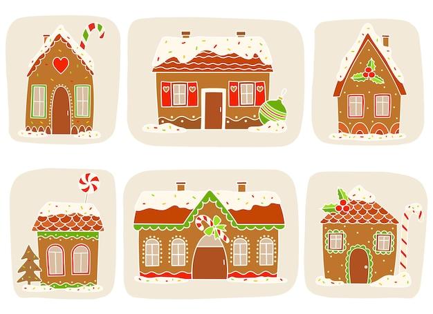 Zestaw ślicznych świątecznych domków z piernika. ilustracja wektorowa.