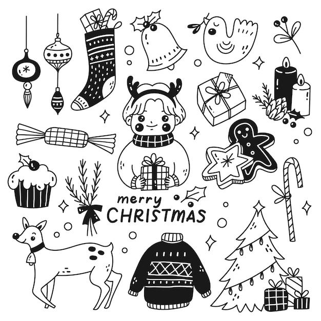 Zestaw ślicznych świątecznych doodli