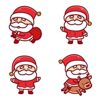 Zestaw ślicznych świątecznych mikołajów trzymających niespodziankę i jadących na reinderr. kawaii wektor