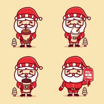 Zestaw ślicznych świątecznych mikołajów trzymających różne filiżanki kawy, lód kawowy, boba i kup 1 dostać 1 tablicę tekstową.