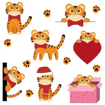 Zestaw ślicznych świątecznych młodych tygrysów, kolor wektor ilustracja na białym tle w stylu kreskówki