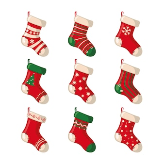 Zestaw ślicznych świątecznych skarpet na białym tle. ilustracja wektorowa.