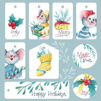 Zestaw ślicznych świątecznych tagów z myszkami i dekoracjami