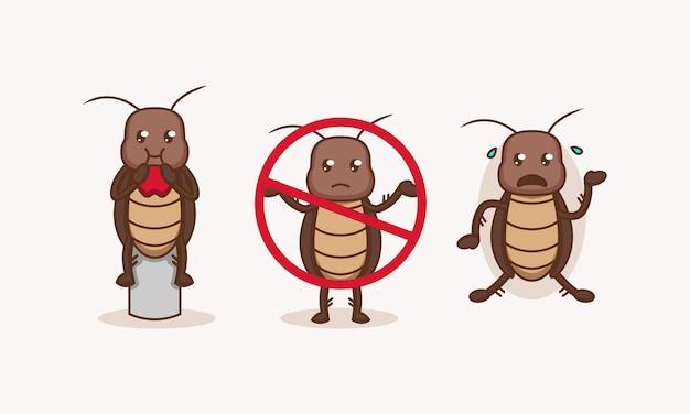Zestaw ślicznych szkodników karaluchów