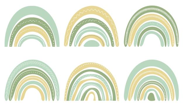 Zestaw ślicznych tęczy w skandynawskim stylu. akwarela tęcza na białym tle na białym tle. pastelowe kolory. sztuka współczesna.