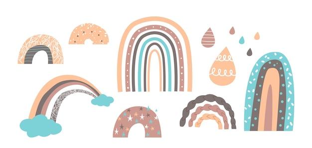 Zestaw ślicznych tęczy w stylu skandynawskim, zabawnych nadruków dla dzieci, wzorów lub tapet. pastelowe kolorowe krople deszczu, łuki deszczu i chmury na białym tle. ilustracja kreskówka wektor, ikony