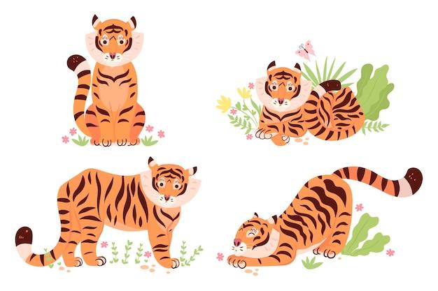 Zestaw ślicznych tygrysów na białym tle