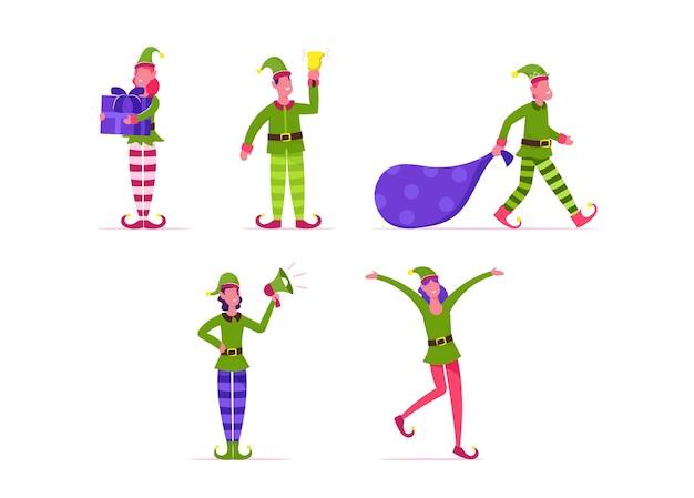 Zestaw ślicznych zabawnych elfów bożonarodzeniowych. płaskie ilustracja kreskówka