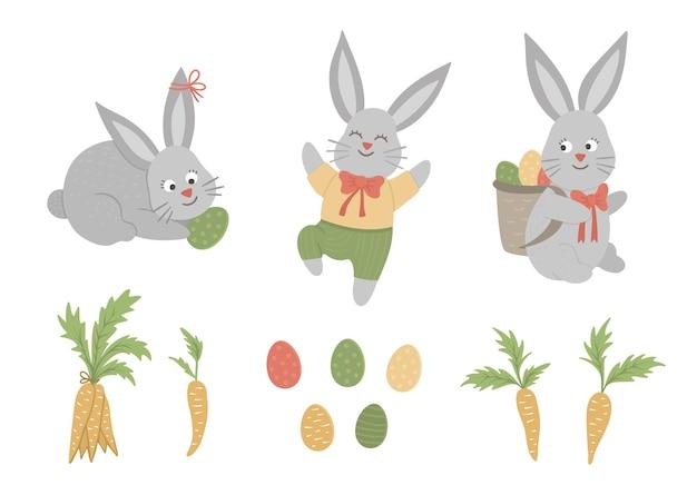 Zestaw ślicznych zabawnych zajączków wielkanocnych z kolorowymi jajkami i marchewką. zabawna ilustracja wiosna. kolekcja elementów projektu na chrześcijańskie święto