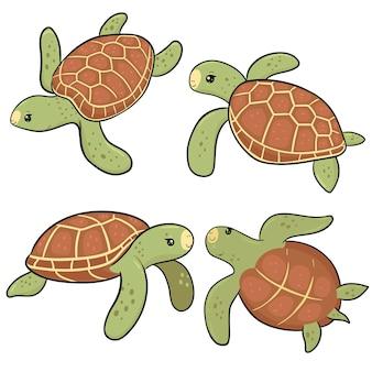 Zestaw ślicznych żółwi morskich na białym tle