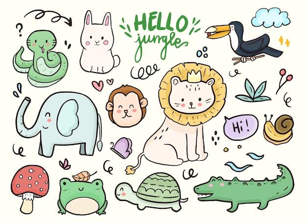Zestaw ślicznych zwierząt dżungli, lwa, ptaka, kreskówki dla dzieci słonia