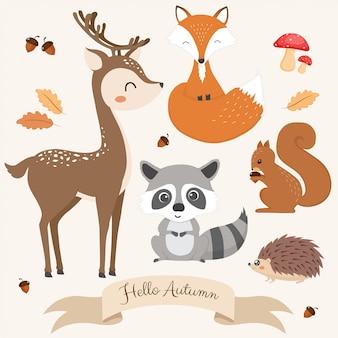 Zestaw ślicznych zwierząt leśnych.