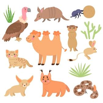 Zestaw ślicznych zwierząt pustynnych na białym tle