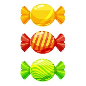 Zestaw słodkich cukierków w opakowaniu w różnych kolorach
