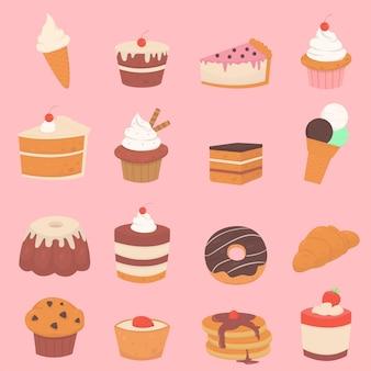 Zestaw słodkich deserów ciasta ze śmietaną i jagodami