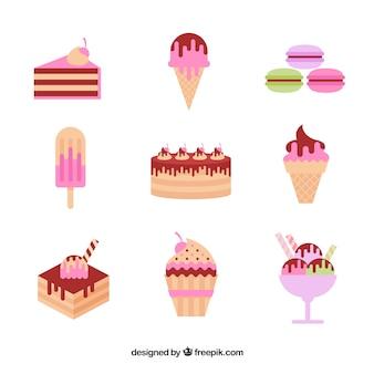 Zestaw słodkich deserów w stylu płaski
