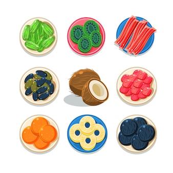 Zestaw słodkich i kolorowych owoców kandyzowanych