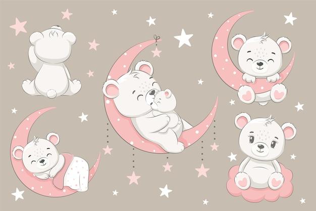 Zestaw słodkich misiów, śpiących na księżycu, marzących i latających we śnie na chmurach. ilustracja kreskówka wektor.