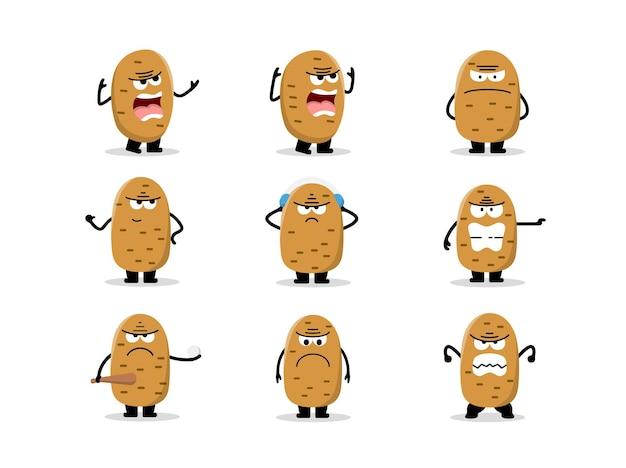 Zestaw słodkich postaci ziemniaków w różnych pozach