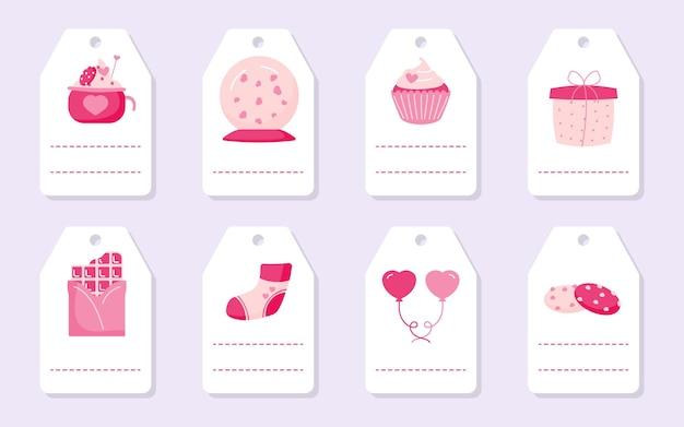 Zestaw słodkich romantycznych przywieszek prezentowych z różowymi sercami, balonikiem i czekoladą. etykiety walentynki z miejscem na tekst.