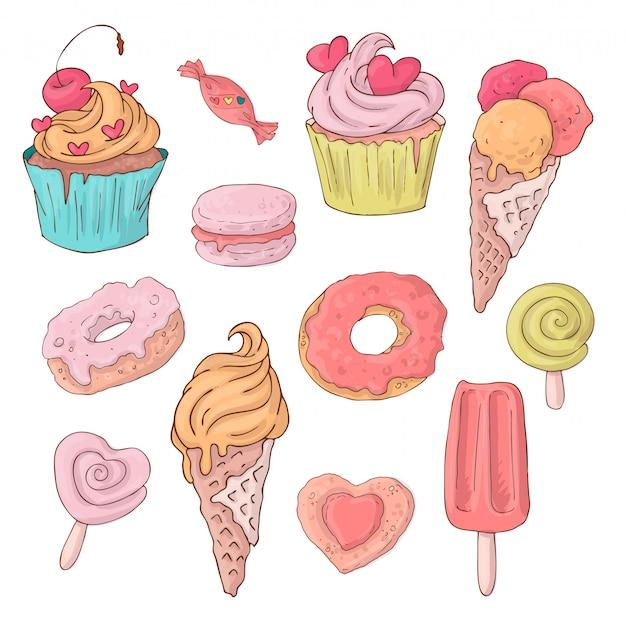 Zestaw słodkich słodyczy kreskówka na walentynki s