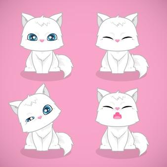 Zestaw słodkie białe koty płaskie ilustracja zwierzaka.