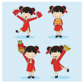 Zestaw słodkie chińskie dziewczyny w tradycyjnych strojach.