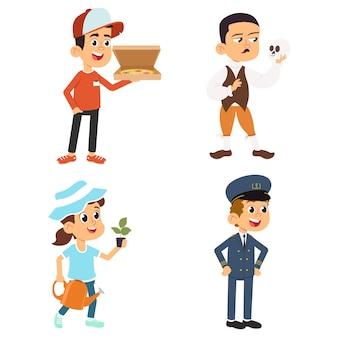 Zestaw słodkie dzieci w różnych zawodach. uśmiechnięci mali chłopcy i dziewczynki w mundurach z profesjonalnym wyposażeniem kolorowe ilustracje