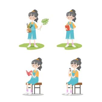 Zestaw słodkie dziewczyny dzieci pozuje czytanie książki rośliny pakiet ilustracja kolekcja