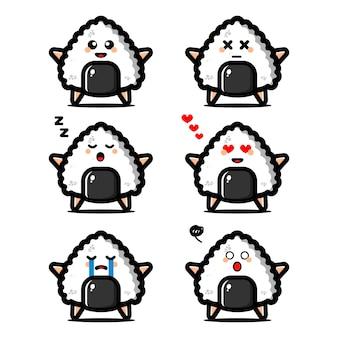 Zestaw słodkie japońskie jedzenie onigiri z postacią z kreskówki wyrażenie
