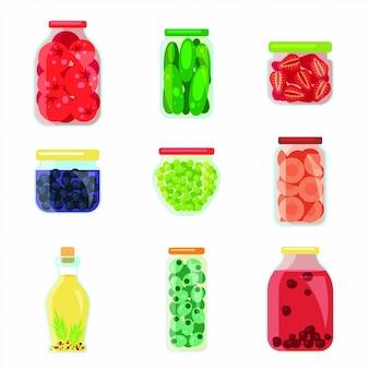 Zestaw słodkie płaskie domowe konserwacja kuchni owoców i warzyw.