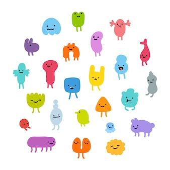 Zestaw słodkie potwory. doodles małe śmieszne stworzenia.