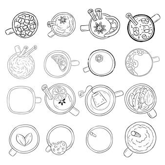 Zestaw słodkie pyszne napoje doodle szkice