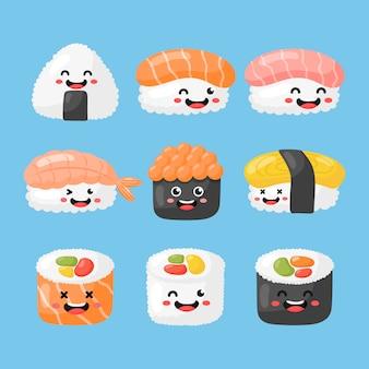 Zestaw słodkie śmieszne sushi i kreskówki sashimi. japońskie jedzenie kawaii styl na białym tle. wektor.