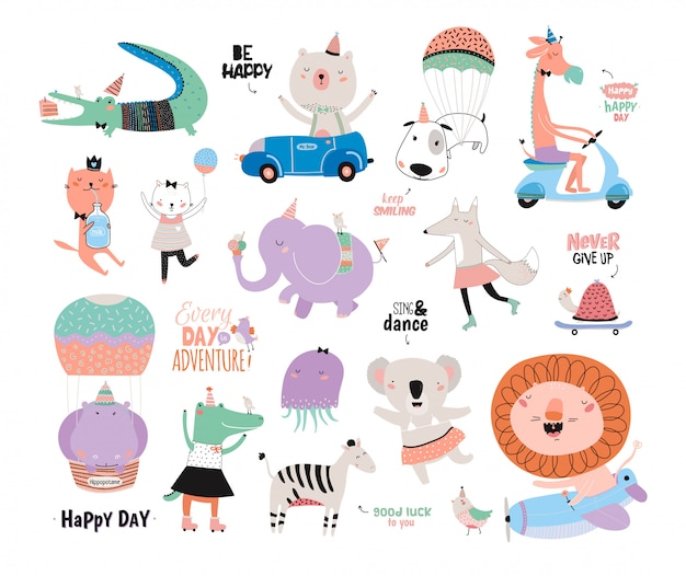 Zestaw słodkie śmieszne zwierzęta i zmotywowane życzenia. skandynawska kolekcja dla dzieci