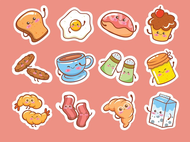 Zestaw słodkie śniadanie ikona naklejki postaci z kreskówek ilustracji