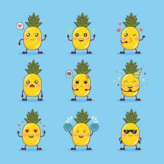 Zestaw słodkiego ananasa z różnymi emocjami ilustracja kreskówka na jasnoniebieskim tle