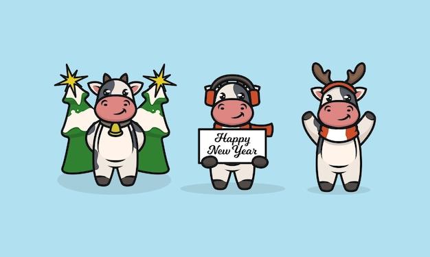 Zestaw słodkiego byka krowy z dekoracją świąteczną
