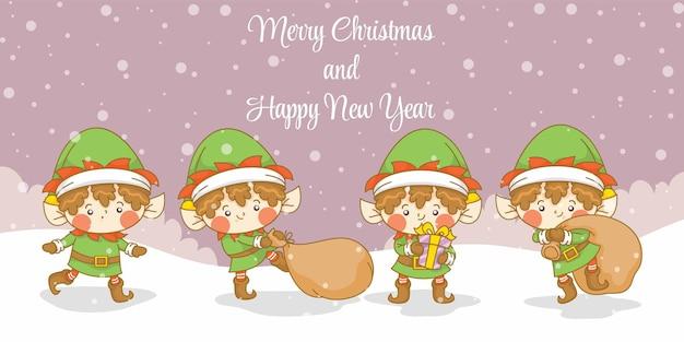 Zestaw słodkiego elfa z banerem powitalnym bożego narodzenia i nowego roku