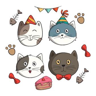 Zestaw słodkiego kota urodzinowego w stylu doodle