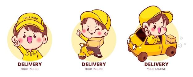 Zestaw słodkiego logo dostawy