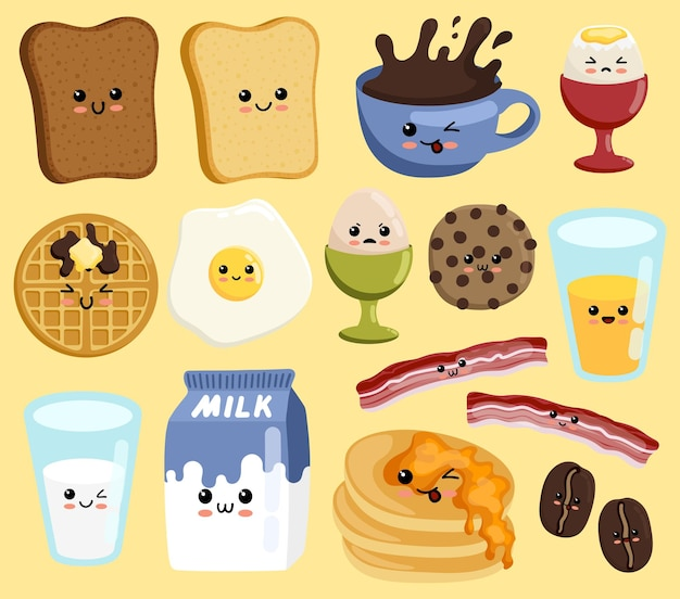 Zestaw słodkiego zestawu śniadaniowego kawaii uśmiechnięta szczęśliwa twarz jedzenie