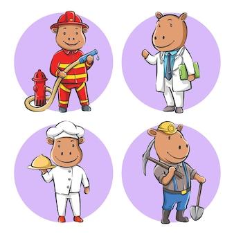 Zestaw słodkiej kreskówki hipopotama z zawodem