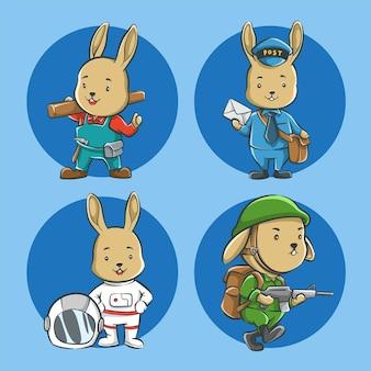 Zestaw słodkiej kreskówki królika z zawodem