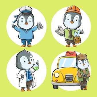 Zestaw słodkiej kreskówki pingwina z zawodem