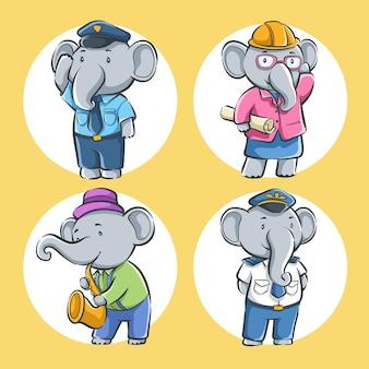 Zestaw słodkiej kreskówki słonia z zawodem