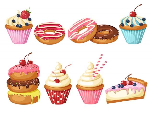 Zestaw słodkiej piekarni na białym tle. przeszklone pączki, sernik i babeczki