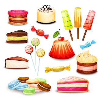 Zestaw słodkiej żywności